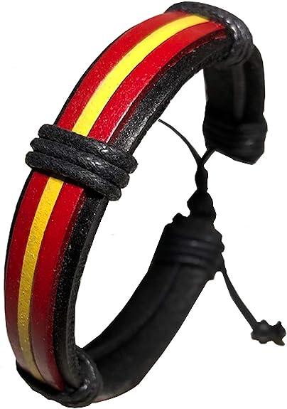 Pulsera Bandera España, diseño Elegante Colores Intensos. Pulsera de Cuero: Amazon.es: Joyería