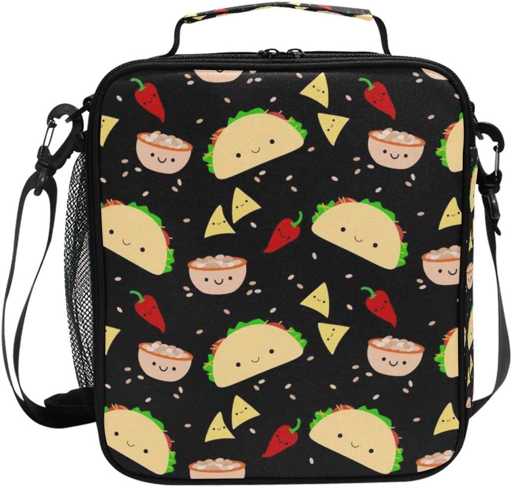 Keceur Lunch Box Taco Tuesday Party Insulated Lunch Bag Reusable Cooler Meal Prep Bags Lunch Tote with Shoulder Strap for Men & Women & Boys & Girls