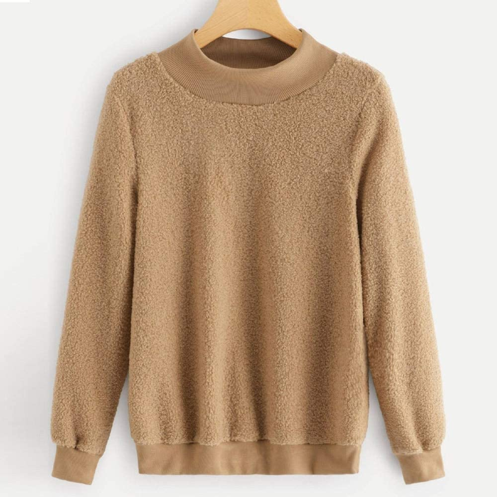 Amazon.com: ZJSWCP Sweatshirt Women Solid Color Tops Plush ...