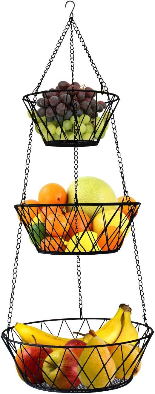 Heavy Duty - 3 Tier Hanging Kitchen Black Fruit Basket