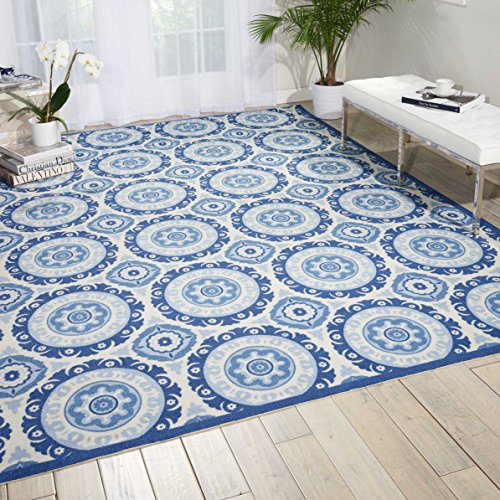 (Nourison Wav01/Sun & Shade (SND16) Navy Rectangle Area Rug, 5-Feet 3-Inches by 7-Feet 5-Inches (5'3