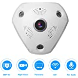 360° Panoramic Wireles IP Camera Audio Video WiFi 3 Megapixel HD Fish-eye Lens Wide Angle 10m/30ft Night Vision VR CCTV Home Security Surveillance Cameras System