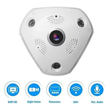 Cámara de 360 VR, Masione 3.0M Panorama WIFI Cámara IP inalámbrica Audio Video WiFi