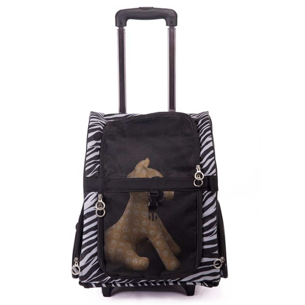 Black Medium Black Medium Wenzhihua Pet backpack Dogs Go Out Portable Bag Chest Trolley Bag Cat Teddy VIP Out Shoulder Bag. for Dogs and Cats (color   Black, Size   M)