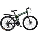 【US Stock】- UROSA High Carbon Steel 26 Inch Folding Mountain Bike 21 Speed Gears Bicycle Mechanical Disc Brakes Shimanos Full