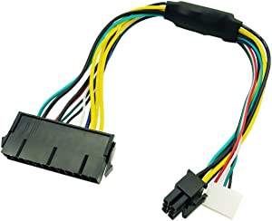 LeFix Power Supply Cable Adapter ATX 24Pin 24 Pin Female to 6Pin 6-Pin Male Mini 6Pin Connector 12 Inch 18AWG for HP Z230 Z220 SFF Workstation Motherboard