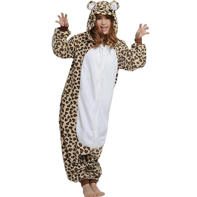 brlmall Unisex leopardo oso pijama Onesie disfraz para adulto