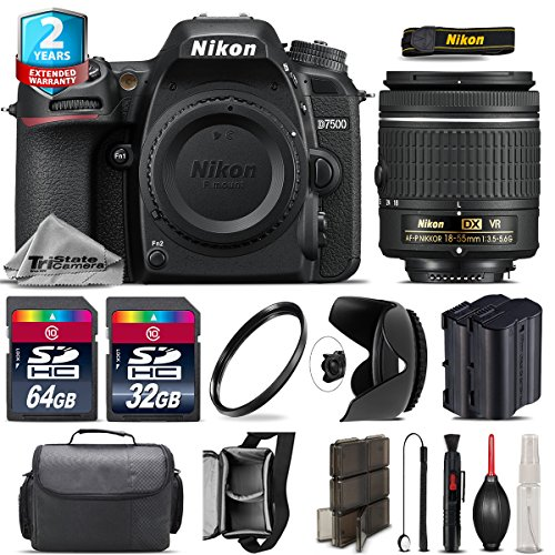Holiday Saving Bundle for D7500 DSLR Camera + AF-P 18-55mm + 64GB Class 10 Memory Card + 2yr Extended Warranty + 32GB Class 10 Memory + Backup Battery + Case + Tulip Lens - International Version by TriStateCamera