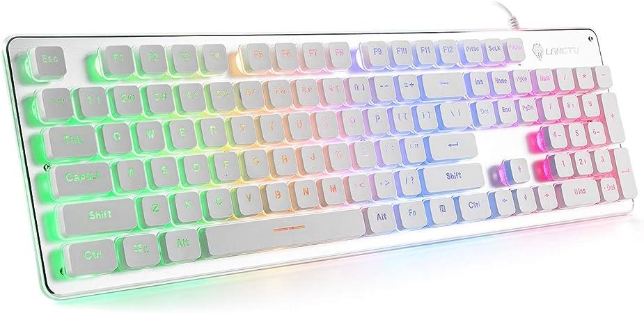 Teclado QWERTY US Layout LANGTU para gaming, con cable y retroiluminación LED arcoíris de 25 teclas, antighosting, 104 teclas, teclado LED ...