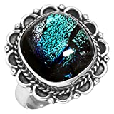 Dichroic Glass Gemstone Ring Solid 925 Sterling Silver Handcrafted Jewelry Size 8