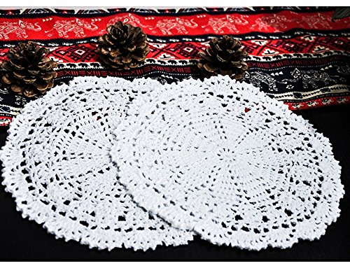 4pcs 25CM Handmade Crochet Doilies Cup Mats Bowls Mat Handmade Weave Placemats Hot Pads Suitable Kitchen Table Mats Coasters