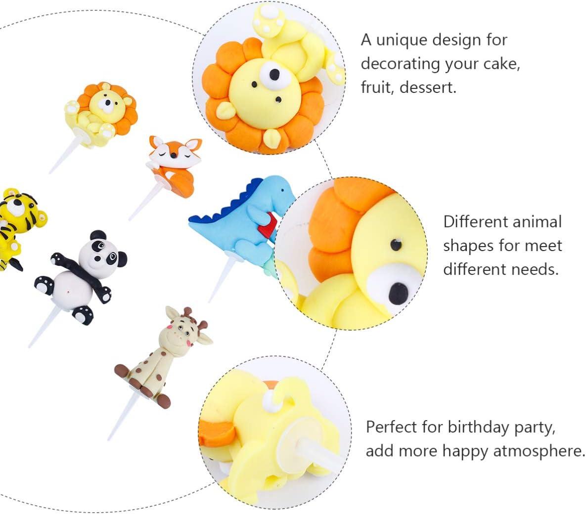 baby shower ni/ño decoracion cumplea/ños adornos dinosaurios tarta infantil topper 6 Piezas Selva Safari Animal Cupcake Toppers Selecciones Zoo Animal Cake Toppers Selecciones para Ni/ños Fiesta
