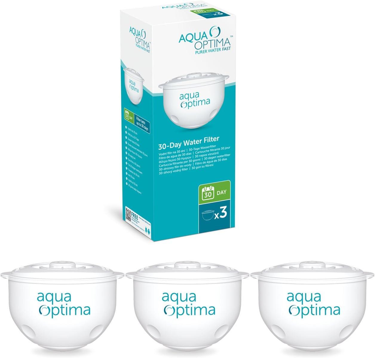 Aqua Optima LISCIA Filtre Carafe avec 1 x 30 Jour Evolve-Pack 1 mois-Blanc