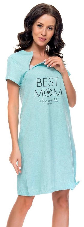 dn-nightwear Damen Nachthemd für Schwangerschaft und Stillzeit TCB.9081
