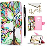 Badalink LG V20 Wallet Case (2016) Flip Folio Kicktand Case PU Leather Case Shockproof Soft TPU Flexible Inner Bumper Colorful Painting Slim-Fit Protective Card Slots Cover for LG V20 - Colorful Tree