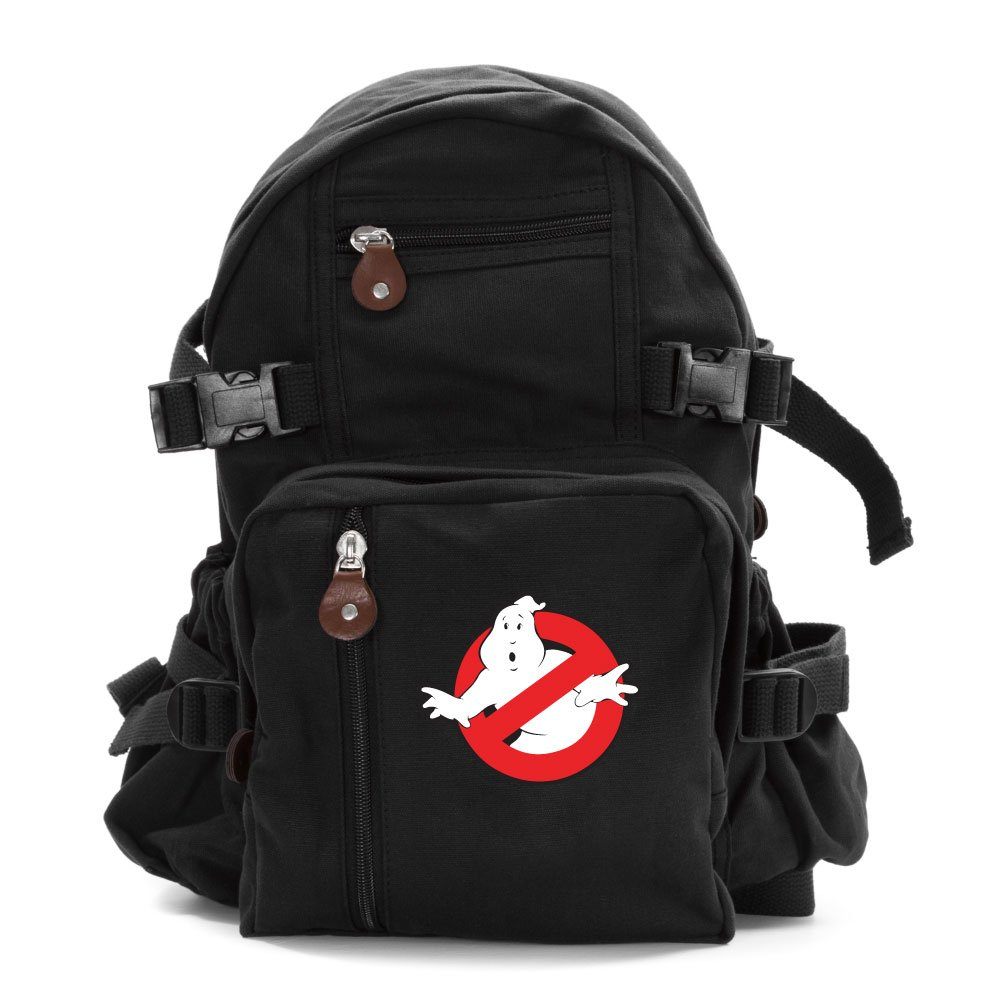 Ghostbusters Logo Army Sport Heavyweight Canvas Backpack Bag in Black, Small
