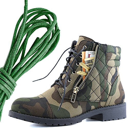 DailyShoes Womens Military Lace Up Buckle Combat Boots Ankle High Exclusive Credit Card Pocket, Dark Green Camouflage Cv