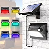 Solar Lights Outdoor, Bcway Dual Motion Detector 180° Sensing [5 Lighting Modes] [Adjustable Solar Panel] 12 LED 200LM Solar Powered Security Light for Garage Yard Front Door (Color Changing) (Black)