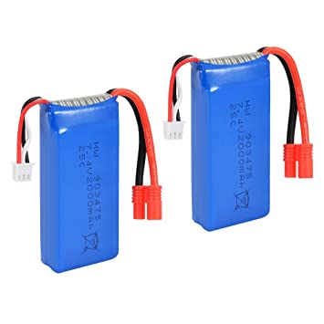 SODIAL(R) 2PCS 7.4V 25C 2000mAh R Plug Battery for Syma X8C X8W ...