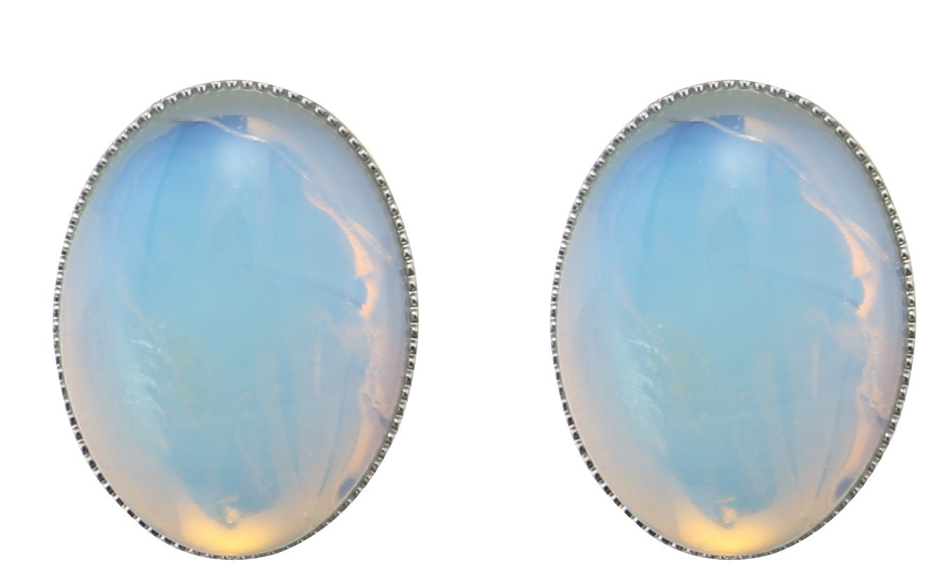 MagicYiMu Women's Jewelry Oval Simulated Opal Clip-On Earrings by MagicYiMu (Image #1)