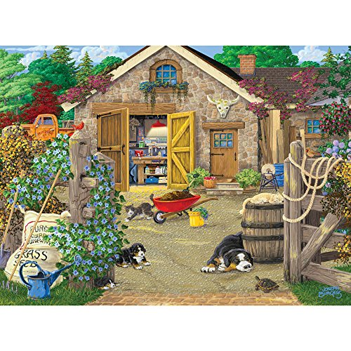 Bits and Pieces - 300 Large Piece Jigsaw Puzzle for Adults - Welcome to the Neighborhood, Dog and Puppy - by Artist Joseph Burgess - 300 pc Oversized Jigsaw - Oversized Puzzle Pieces