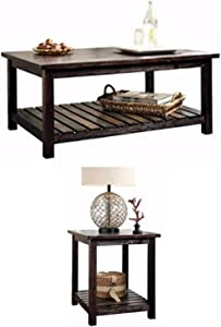 Ashley Furniture Signature Design - Mestler Living Room Table Set - Coffee Table with Two Single-Shelf End Tables - Rustic Brown