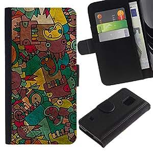 Planetar® Modelo colorido cuero carpeta tirón caso cubierta piel Holster Funda protección Para SAMSUNG Galaxy S5 V / i9600 / SM-G900 ( Cartoon Drawing Hand Teal )