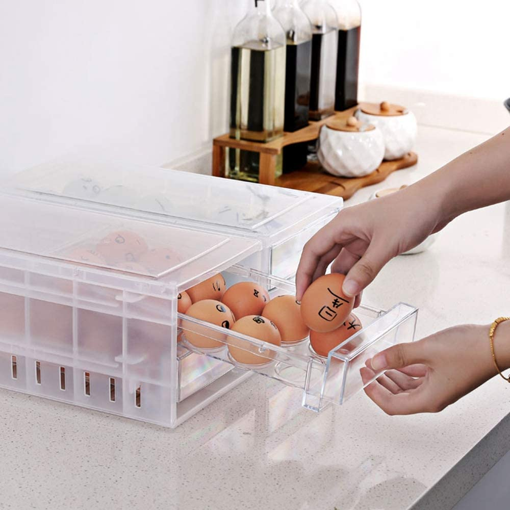 Homespace Double Layer Drawer Type Egg Storage Box 24 Grid Refrigerator Egg Crisper Home Kitchen Egg Tray Transparent White