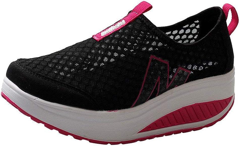 Zapatillas de Deportivos de Running para Mujer Malla Transpirable Pendiente con Suela Gruesa para Aumentar los Zapatos Casuales Running Fitness Sneakers Zapatos Mecedora riou: Amazon.es: Zapatos y complementos