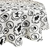 "DII 100% Cotton Printed Tablecloth 70"" Round. Halloween Portrait"