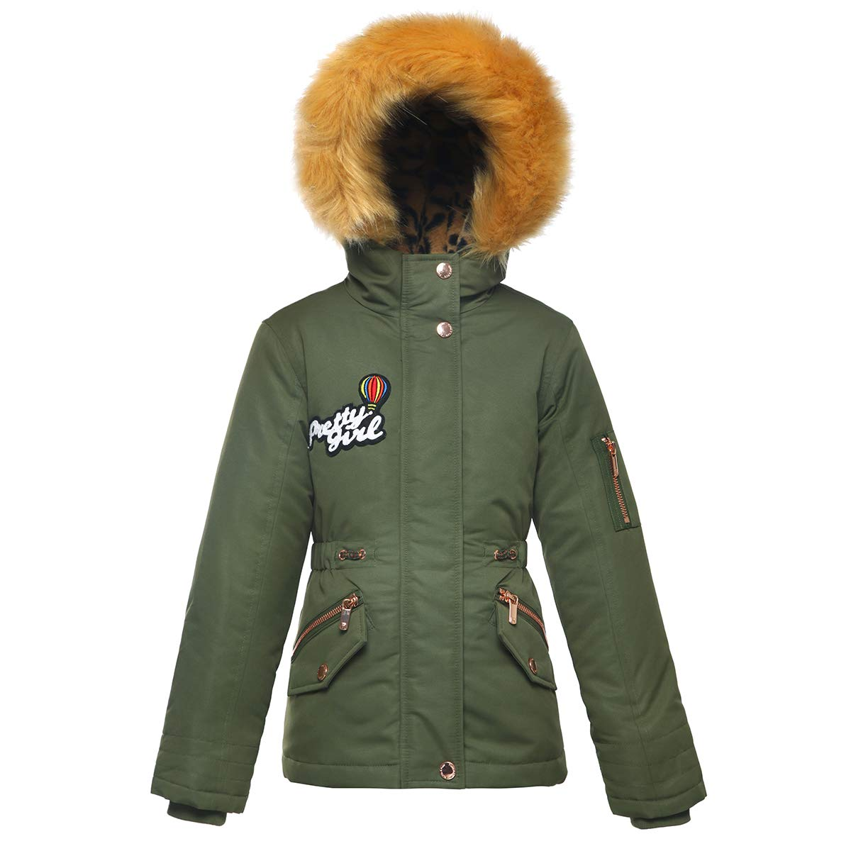Rokka& Rolla Girls' Water-Resistant Hooded Thickened Parka Jacket Faux-Fur Hood Trim