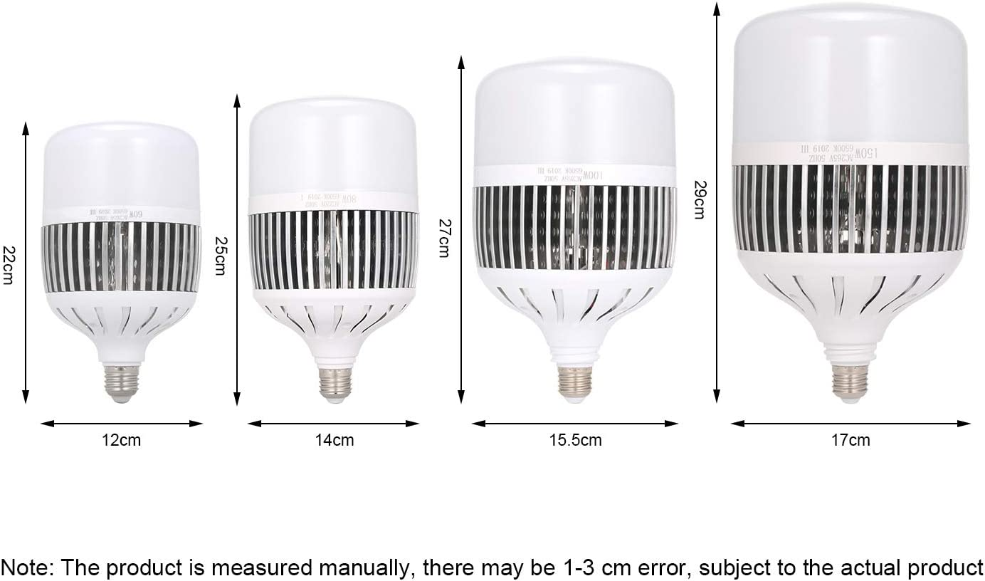 Walmeck AC160-265V LED Bulb T Bubble Fin Appearance LED Light Replacement Lamp E26 E27 Bulb 6500K Widely Used in Lighting