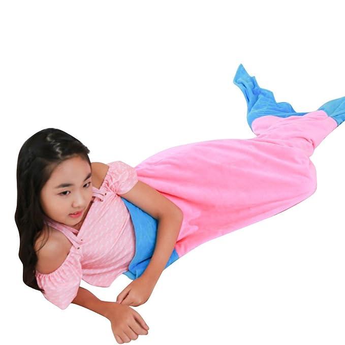 Sonnena tiburón cola de sirena manta saco de dormir Saco de dormir para niños, algodón, Rosa, 150cm * 50cm: Amazon.es: Hogar