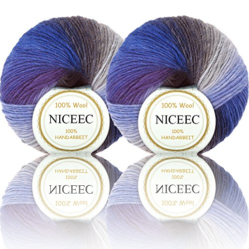 2 Skeins Rainbow Soft Yarn 100% Wool Gradient Multi Color Yarn for Crocheting Knit Total Length - Cashmere Yarn