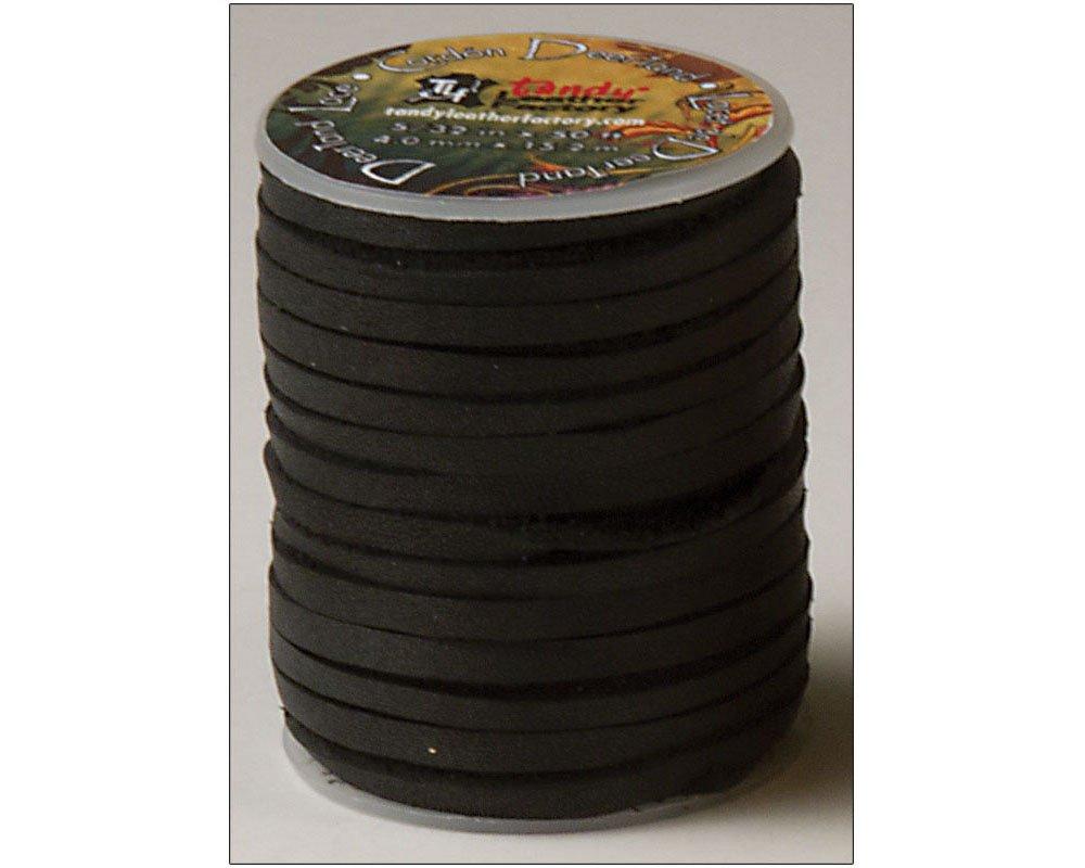 Tandy Leather Deertan Lace 5/32'' x 50 ft (4 mm x 15.2 m) Black 5071-01