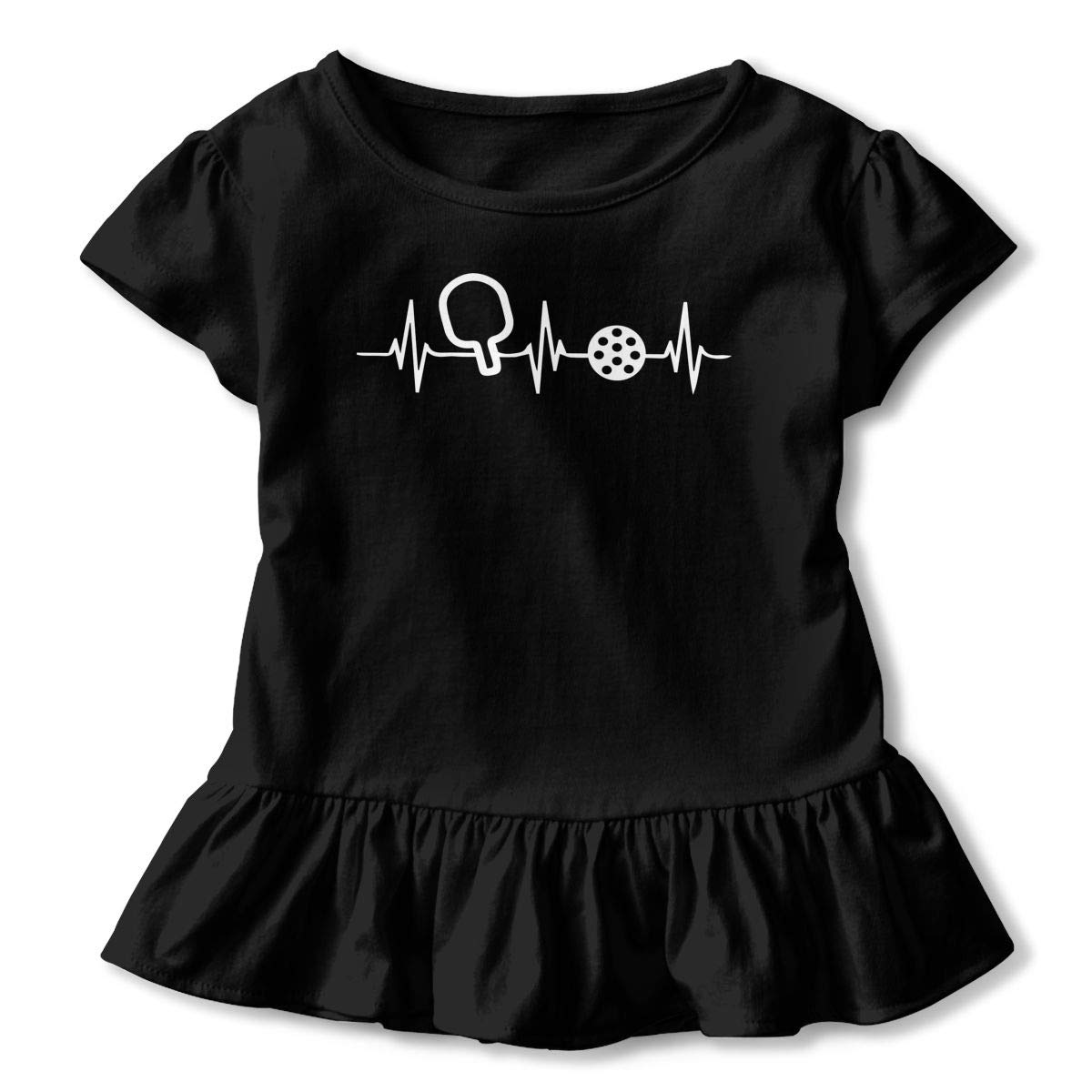 Pickleball Heartbeat Baby Girls Short Sleeve Ruffle Tee Cotton Kids T Shirts 2-6 Years