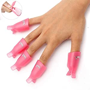 HiMo 10PC Plastic Acrylic Nail Art Soak Off Cap Clip UV Gel Polish Remover Wrap Tool (Pink)