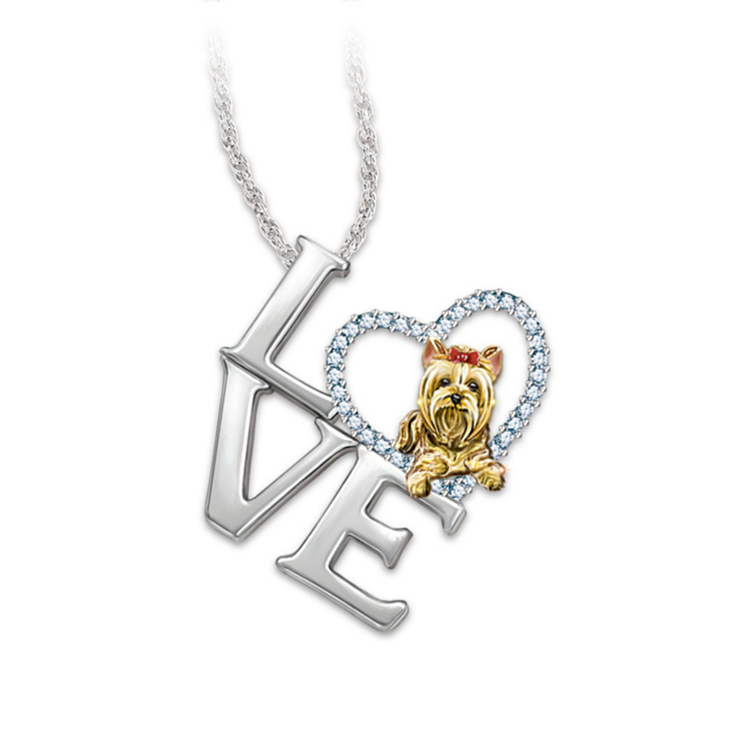 Amazon.com: Pendant Necklace: Love Is A Yorkie by The Bradford ...