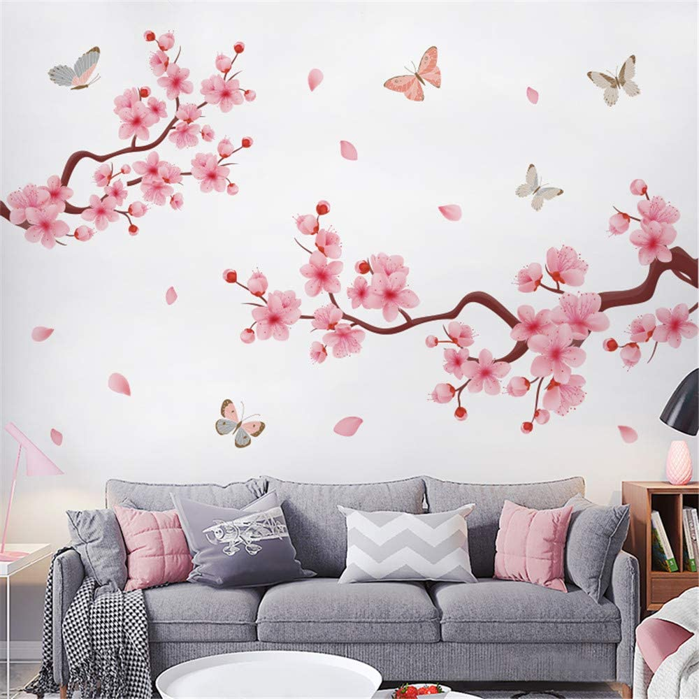 LLYDD Pink Flower and Butterfly Tree Branches Wall Sticker Art Decor Peel and Stick Self - Adhesive for Living Room Bedroom Kitchen Playroom Nursery Room Realistic Vibrant Greenish Bright Color…