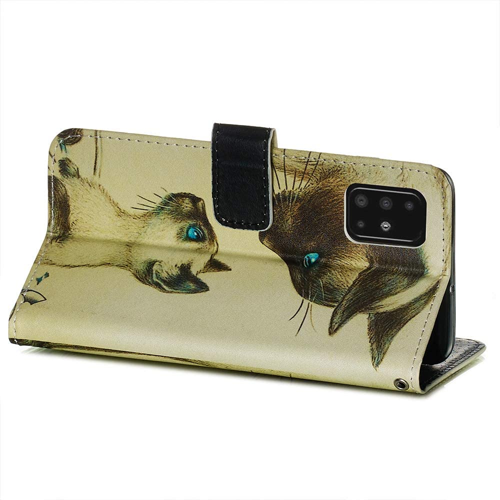Miagon for Samsung Galaxy A51 Wallet Case,PU Leather Folio Flip Cover with Stand Card Slots Magnetic Closure,Cat Mirror Tiger