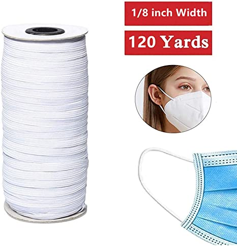 Amazon Com 120 Yard Elastic Band Braid Rope Spool Elastic String For Sewing Craft Diy Mask 1 8inch White