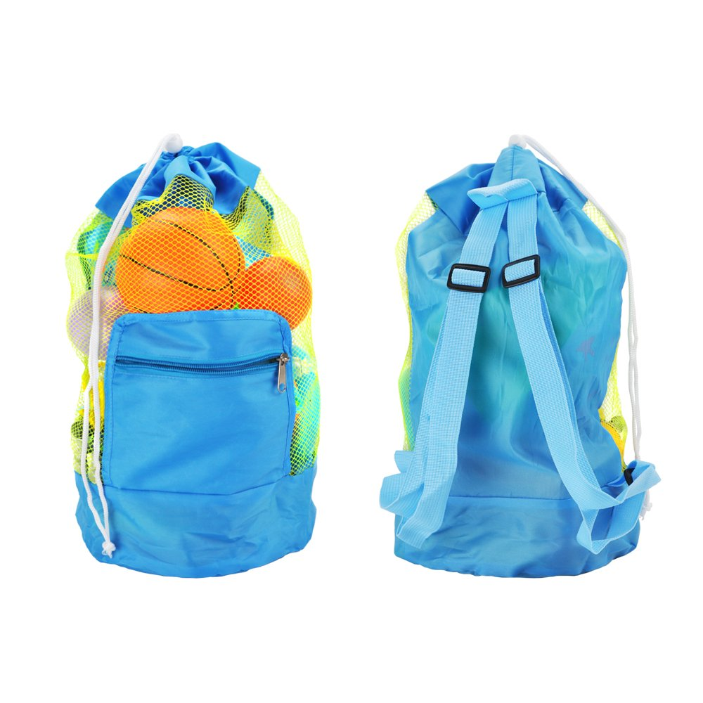Mairsun Mesh Beach Tote,Kids Beach Bag, Drawstring Foldable Beach Bag for Toys,Perfect for Holding Children's Toys SkyBlue (Toy Not Included)