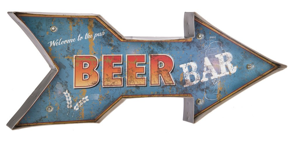 Ganz LED Light Up Metal Wall Sign ブルー ER49331 B075B4733K Beer Bar Beer Bar