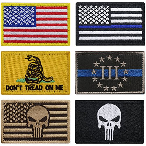 - Bundle 6 Pieces Full Color USA American Thin Blue Line Police Flag Three Percenter Tactical Don't Tread On Me Fully Embroidered Morale Tags Patch