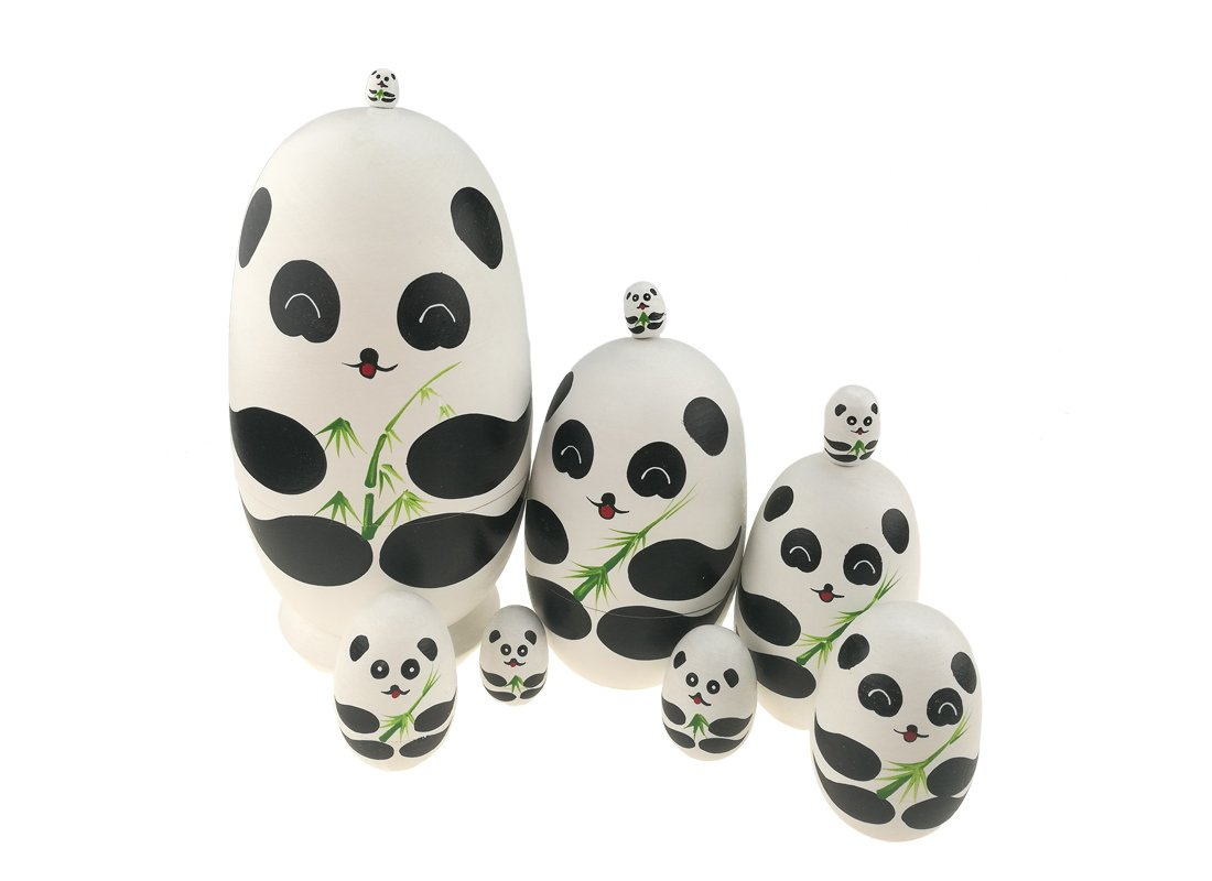 Apol Cute Panda With Bamboo Egg Shape Handmade Wooden Russian Nesting Dolls Matryoshka Doll Set 10 Pieces in a Exquisite Gift Box With Bow For Home Decoration Kids Toy Christmas Birthday Easter Gift by Apol (Image #5)