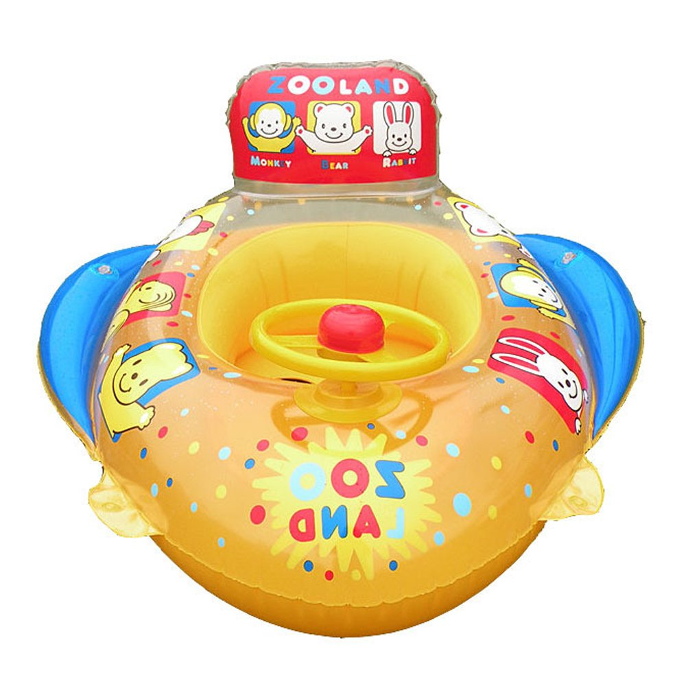 botitu Inflatable Baby Float水泳シート、イエローAerated Infant Pool Float with Hornベビー水Spring Float、最適な用途3 Years Old子供プールトイスイミングリング   B07D6G28X5