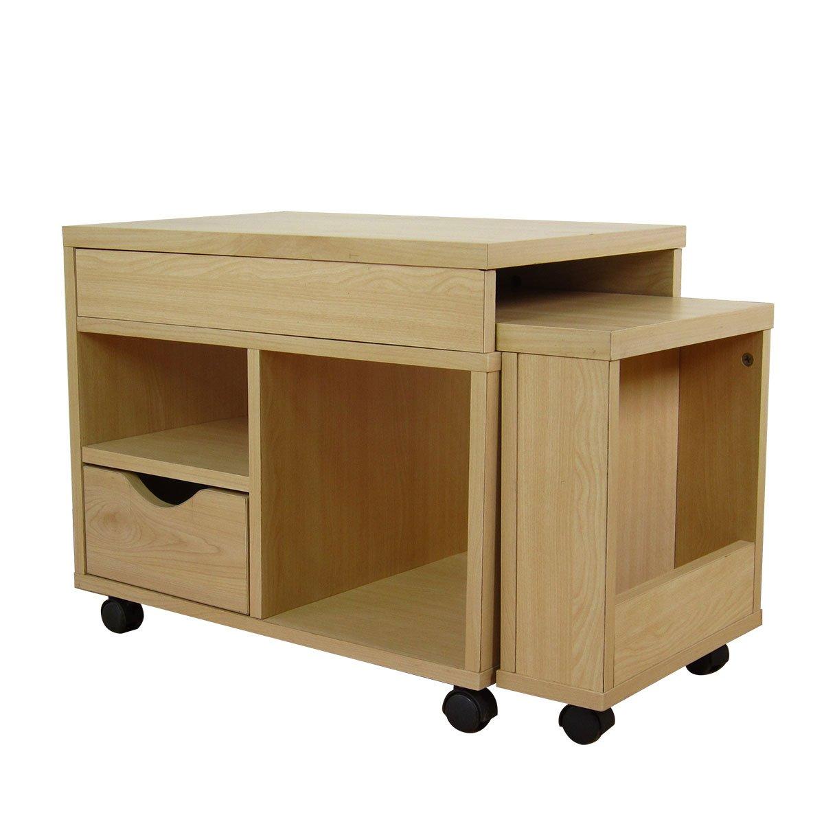 クロシオ ドロアーセンターテーブル ナチュラル 幅72~122cm奥行39.5cm 半完成品 一部組立 デスク B004GTW2R0 Parent