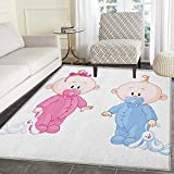 Gender Reveal Rug Kid Carpet Cheerful Boy and Girl Children with Bunny Pacifiers Twins Home Decor Foor Carpe 4'x6' Pale Blue and Pink Peach