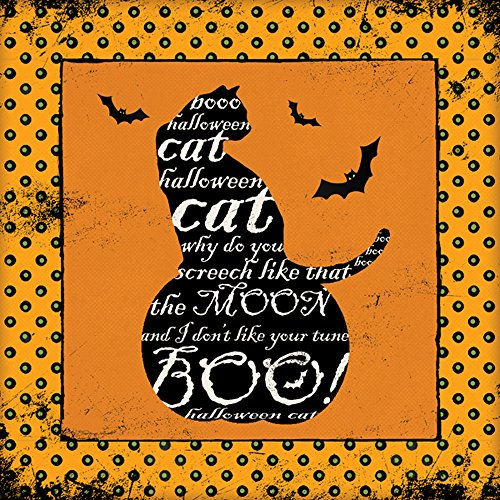 Set of 4 Witch's Hat Broom Bat 12x12 Black Cat Hallowwn Pattern Unframed Art Prints Cat Hat Art