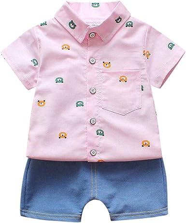 Mitlfuny Verano Caballero Conjunto de Ropa Blusas para Bebé Manga Corta Solapa Botón Camisas Dibujos Animados Oso Impresión Camisetas Tops + Vaquero Pantalones Trajes 2 Piezas Niñas Niños 1-3 Años: Amazon.es: Ropa